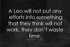 a leo will not put any efforts into something that they think will not work, they don't waste time