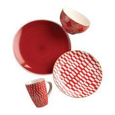Simpatico 16 Piece Dinnerware Set in Red, Inglaze Decal - Collections Red Dinnerware, Dinnerware Sets For 12, Square Dinnerware Set, Earthenware, Stoneware, Dinner Plates, Euro, Red And White, Artisan