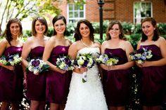 Bridesmaids : plum dresses with purple, blue, white bouquets