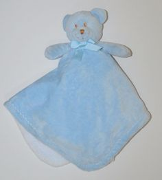 Blankets & Beyond Blue White Bear Security Blanket Bow Brown Nose Lovey 18 x 18 #BlanketsBeyond