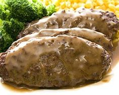 Venison, (Beef) Salisbury Steak - Simple Healthy Recipes For Dinner Easy Salisbury Steak, Salisbury Steak Recipes, Venison Recipes, I Love Food, Good Food, Yummy Food, Tasty, Clean Eating Recipes, Cooking Recipes