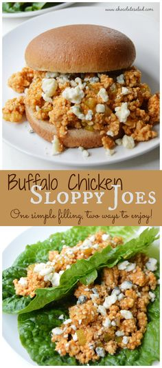A quick and healthy weeknight dinner with a kick! Buffalo Chicken Sloppy Joes on Chocolatesalad.com