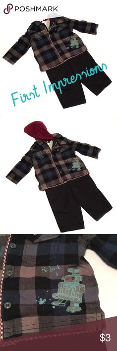 ⬇️NWT First Impressions Outfit New With Tags First Impressions Outfit. GREAT Gift! Black Pants, Gray Tshirt and Top shirt has a blue and gray plaid with a Robot design and a burgundy hood attached. Size 6-9 months. Comes with padded First Impressions hangar. First Impressions Shirts & Tops