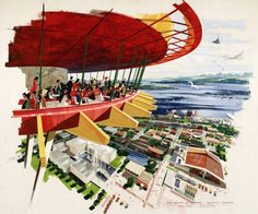 Century 21 Exposition (Seattle, Wash.), study for the Space Needle restaurant by artist Earle Duff
