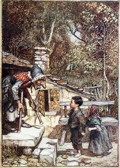 'Hansel and Gretel' by Arthur Rackham from 'The Fairy Tales of the Brothers Grimm' translated by Mrs. Edgar Lucas and illustrated by Arthur Rackham, 1909 (London: Constable & Company Ltd) Arthur Rackham, Baba Yaga, O Grimm, Hansel Y Gretel, Charles Perrault, Fable, Brothers Grimm, Vintage Fairies, Grimm Fairy Tales