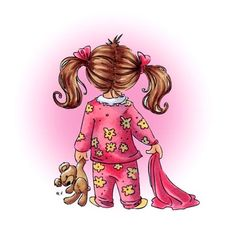 Penelope With Teddy Digi Stamp in Digital images Mo Manning, Good Night Sweet Dreams, Cute Clipart, Illustrations, Cute Little Girls, Anais Nin, Digital Stamps, Cute Illustration, Cute Cartoon