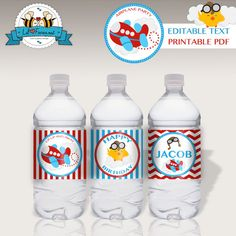 EDITABLE Airplane Birthday Water Bottle by LilFacesPrintables, $4.95 - INSTANT DOWNLOAD