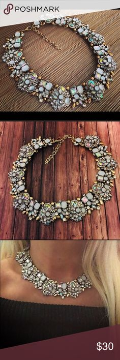❣️Gorgeous statement necklace,statement choker This is one of my favorites! It is with clear crystals gemstones and Crystal AB gemstones with gold alloy it's 15 inches with a 3 inch extension the colors are just absolutely gorgeous,new Jewelry Necklaces