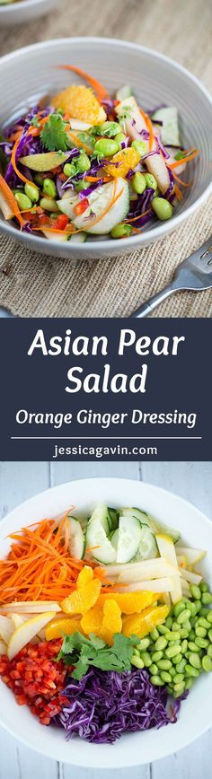 A refreshing Asian pear salad with orange ginger dressing - this recipe is a healthy and delicious side dish! Crisp vegetables and pears tossed in a sweet tangy dressing | jessicagavin.com