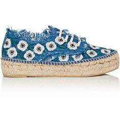Loeffler Randall Women's Alfie Denim Espadrille Sneakers ($275) ❤ liked on Polyvore featuring shoes, sneakers, platform lace up shoes, lace up sneakers, platform espadrilles, denim espadrilles and lace up espadrilles