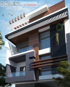 Residence Design For Delhi . 3 Storey House Design, House Roof Design, Bungalow House Design, Facade Design, Facade House, Indian House Exterior Design, White Exterior Houses, Modern Exterior House Designs, Latest House Designs