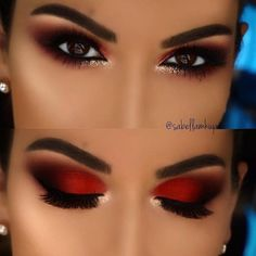 You can find one for the dinner party from the eye makeup designs in this article, as well as the part suitable for daily eye makeup. No matter which one you choose, you will be obsessed after using these eye makeup suggestions. Daily Eye Makeup, Red Eye Makeup, Creative Eye Makeup, Colorful Eye Makeup, Red And Black Eye Makeup, Dramatic Makeup, Dramatic Eyes, Morphe Eyeshadow, Makeup Eyeshadow