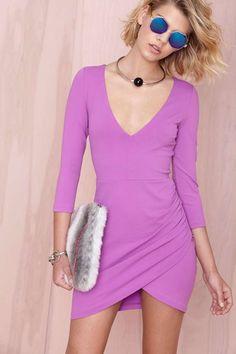 Nasty Gal Deep Down Dress - Purple