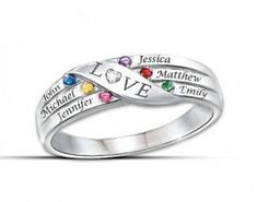 Cute sterling silver Mothers Day ring with up to 6 kids names and birthstones.  I adore the diamond shaped heart that forms the O in LOVE!  $99