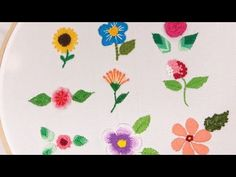 Embroidery for Beginners: 9 Flowers Embroidered with Threads Diy Embroidery Patterns, Ribbon Embroidery Tutorial, Hand Embroidery Videos, Hand Embroidery Flowers, Embroidery On Clothes, Flower Embroidery Designs, Simple Embroidery, Embroidery For Beginners, Embroidery Techniques