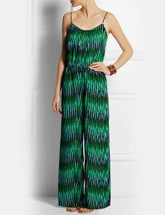 539c9e4e74d Michael Kors Sumatra Print Sleeveless Green Jumpsuit Vacations