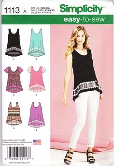 4dbe4e71a7f907 Simplicity 1113   misses easy knit tops can be sleeveless with sheer inset  band and optional trim