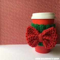 I Like Big Bows  Christmas Edition Drink Cozy by MissSquirrelsShop