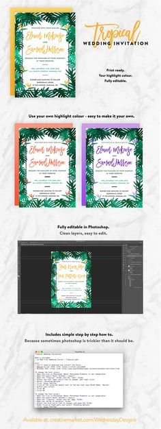 Such a fun, fresh wedding invite. Super easy to customise - perfect for DIY Weddings. Change the colour to suit your theme, save + print! Diy Wedding Invitations Templates, Holiday Invitations, Simple Wedding Invitations, Rustic Invitations, Invitation Design, Invites, Text Fonts, Photoshop Elements, Text Color