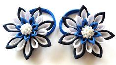 Flores de tela Kanzashi. Set de 5 piezas. Azul marino por JuLVa