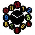 Modern Tasarım Duvar Saati (Renkli Rakamlar)