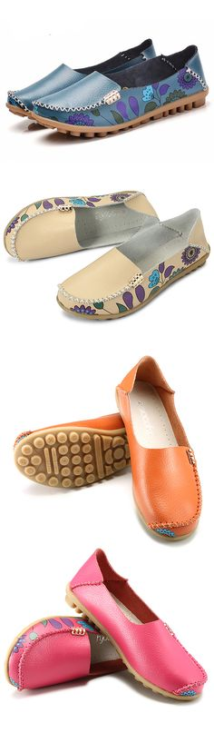 $16.51 Socofy Flower Print Soft Comfortable Flat Leather Lazy Slippers Shoes