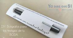 Blog de bodas - Yo dire que si: Bolígrafos para los testigos de tu boda. Plantilla descargable gratuita.