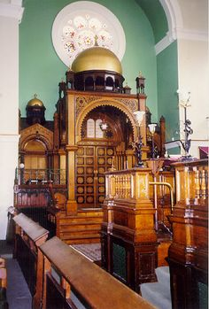 Interior view of the Spanish and Portuguese Synagogue, Maida Vale, London, UK
