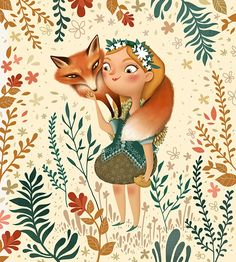 Ana Varela - Little fox on Behance Art And Illustration, Fuchs Illustration, Illustrations, Fox And Rabbit, Little Fox, Fox Art, Kawaii, Red Fox, Anime Art Girl
