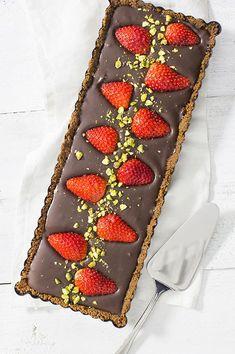 Chocoladetaart met aardbeien zonder oven - Leuke recepten