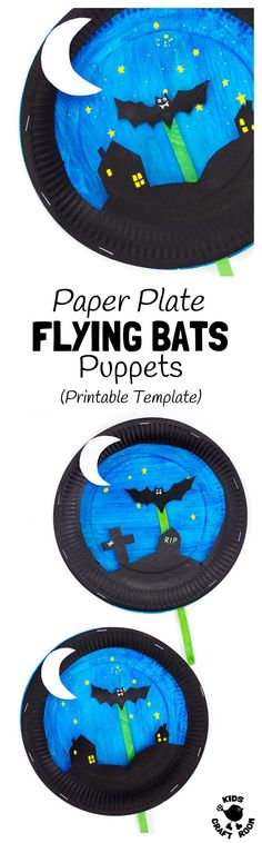 PAPER PLATE BAT PUPPETS - (Free printable templates) Such a fun Halloween craft for kids! This interactive paper plate craft has a bat puppet that flies in a night sky. A great bat craft to inspire imaginative play and story telling. Theme Halloween, Fun Halloween Crafts, Halloween Activities, Craft Activities For Kids, Preschool Crafts, Kids Crafts, Craft Kids, Halloween Stories For Kids, Halloween Scene