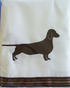 Dachshund Doxie Dog Smooth on White Shower Curtain with Brown and White Ribbon Accents. $56.00, via Etsy.