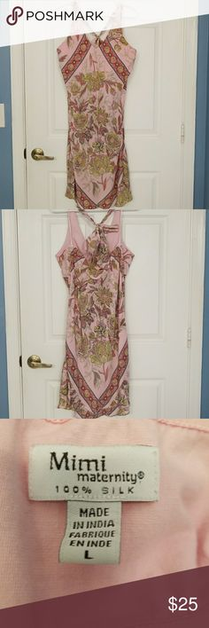 Mimi Maternity Halter Top Dress Pink paisley halter top dress in size large. The dress is silk, dry clean only recommended. Mimi Maternity Dresses Mini