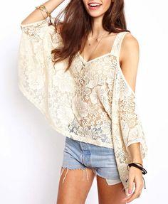 Off-the-shoulder Lace T-Shirt