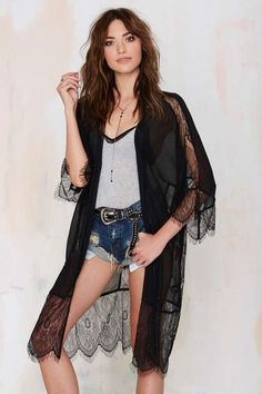 Lash Out Lace Kimono - Black | Shop Clothes at Nasty Gal!
