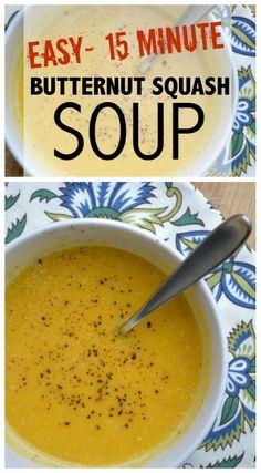 15 Minute Butternut Squash Soup via @kgreaze
