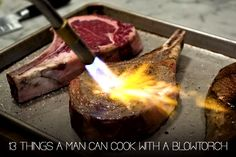 """""""Modernist Cuisine: The Art and Science of Cooking"""" Seared Frozen Steak Simple Sous Vide Salmon Kitchen Torch, Cooking Torch, Cooking Games, Cooking Ideas, Seared Fish, Frozen Steak, Brulee Recipe, Recipes"""