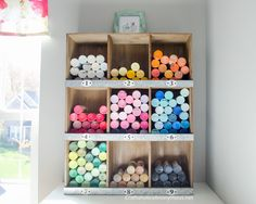 Craft Paint Storage Idea on www.CraftaholicsAnonymous.net. Plus the most amazing Craft Room EVER! Must click to view. Loads of great craft room organization ideas.