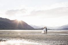 Beautiful calm evening sunsets. Wedding photography by Alpine Image Company