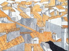 Crow on rooftops. Paper, paper shreds, house paint, ink 8x10 Inspiration from google and Pinterest