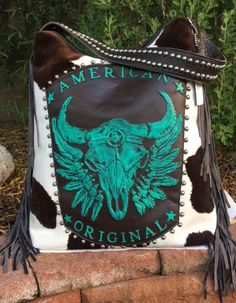 Raviani Western Leather Handbag Purse w/ TEXAS Longhorn Skull & Fringe Rodeo USA #Raviani #ShoulderBag