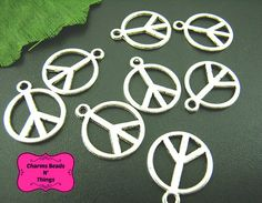 10 Antique Silver Round Peace Sign Charm by CharmsBeadsnThings