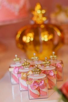 Crown topped favors at a pink and gold princess birthday party! See more party ideas at CatchMyParty.com!