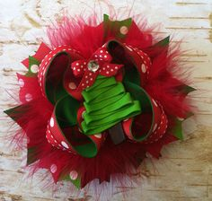 Boutique Christmas hairbow by KBHBOWDesigns on Etsy, $8.00