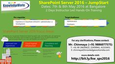 SharePoint Server 2016 - JumpStart Dates : 7th & 8th May 2016 @ Bangalore WebURL : www.bit.ly/kw_sps2016 Contact : Chinmaya S Patil ( 9886077575 )