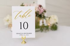 Gold Wedding Table Number, Calligraphy Printable Numbers Printable Ins