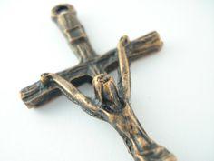 LARGE Vintage Copper Bronze Spanish Catholic Crucifix