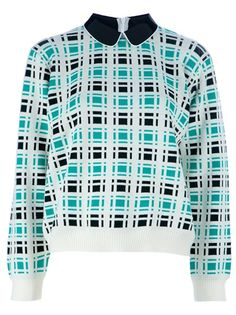 White wool blend sweater from Marni featuring a black classic collar witha white trim, a green and black checked design, long sleeves, ribbed cuffs and a ribbed hem.