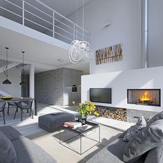 Dostępny 4 - wizualizacja 5 - mały nowoczesny dom z garażem i antresolą Modern Bedroom Design, Contemporary Interior Design, Office Interior Design, Modern House Design, Living Room Modern, Home Living Room, Living Room Designs, Luxury Dining Tables, Loft