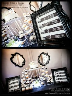 Framed wedding cupcake display signs - Graphic Design by BusyMo Media & Design (be.net/melissadzier). Black and White, vector images, pearl white paper, wedding cake display, wedding cupcake display, cake and cupcakes by Azucar Bakery in Denver, Photo credit: Camara Photography, LLC #vintage #custom #ornate #couture #elegant, #upscale #classy #Clocks #Steampunk